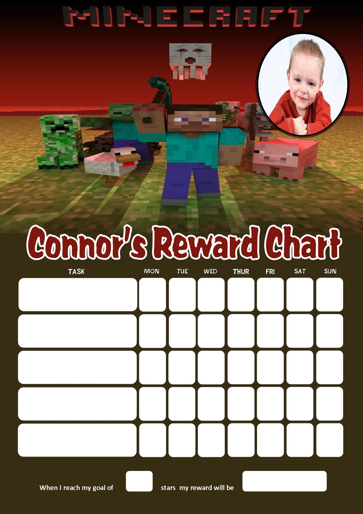Personalised Minecraft Reward Chart (adding photo option available): www.greetingcards4kids.com/personalised-minecraft-reward-chart...